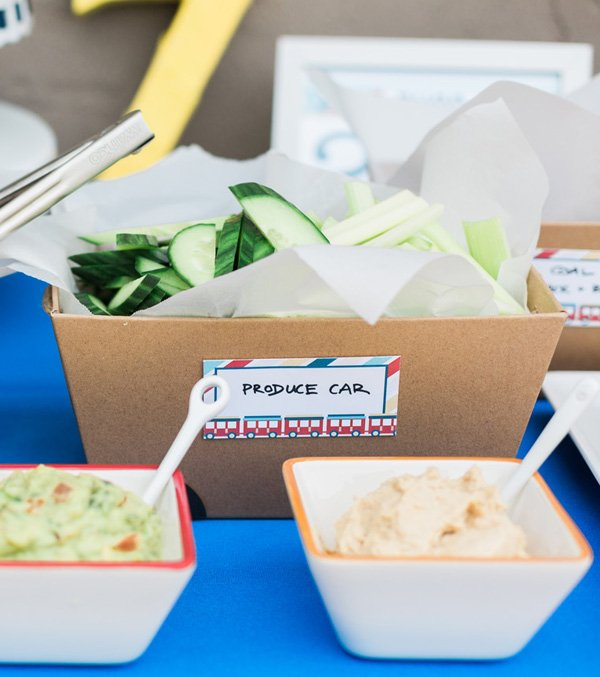 train party food - log car with veggies