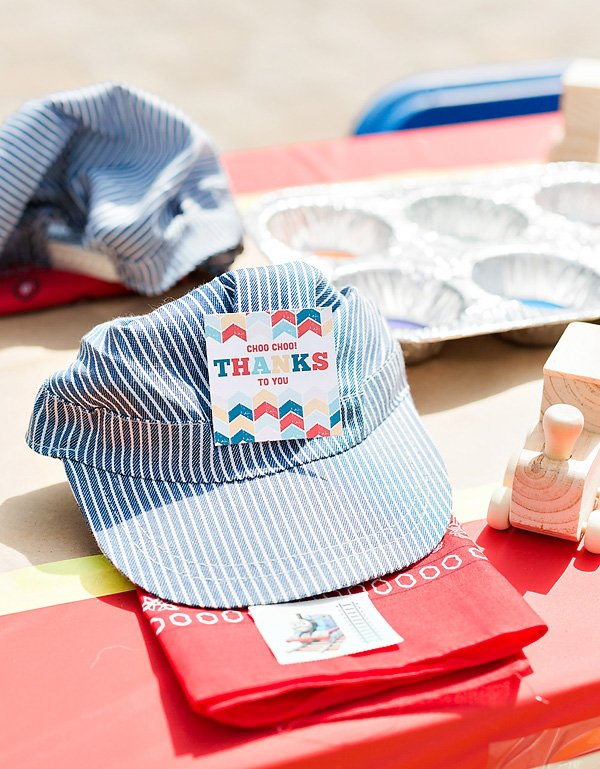 train party engineer hats with favor tags