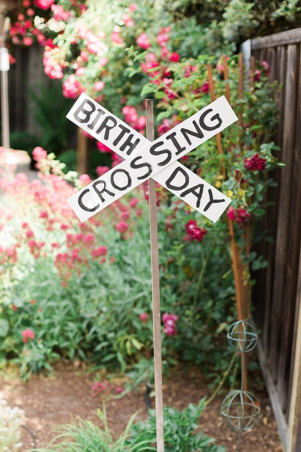 train party railroad crossing sign