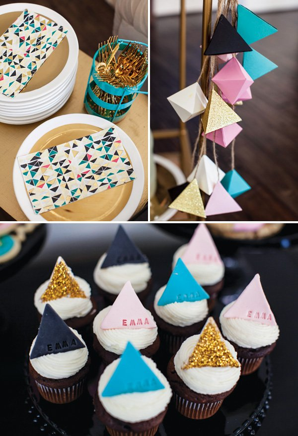 trendy triangles as party decor