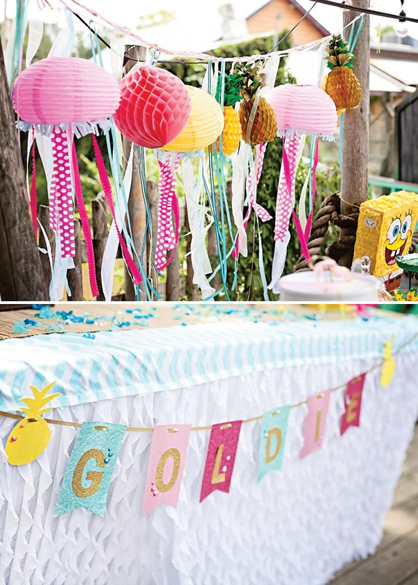 tropical pineapple and under the sea themed garlands