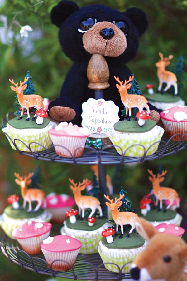 woodland animal and toadstool topped cupcakes