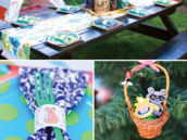 woodland birthday party tablescape