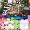 patterned woodland birthday party dessert table