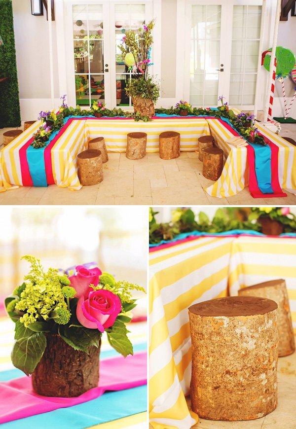 colorful woodland tablescape ideas