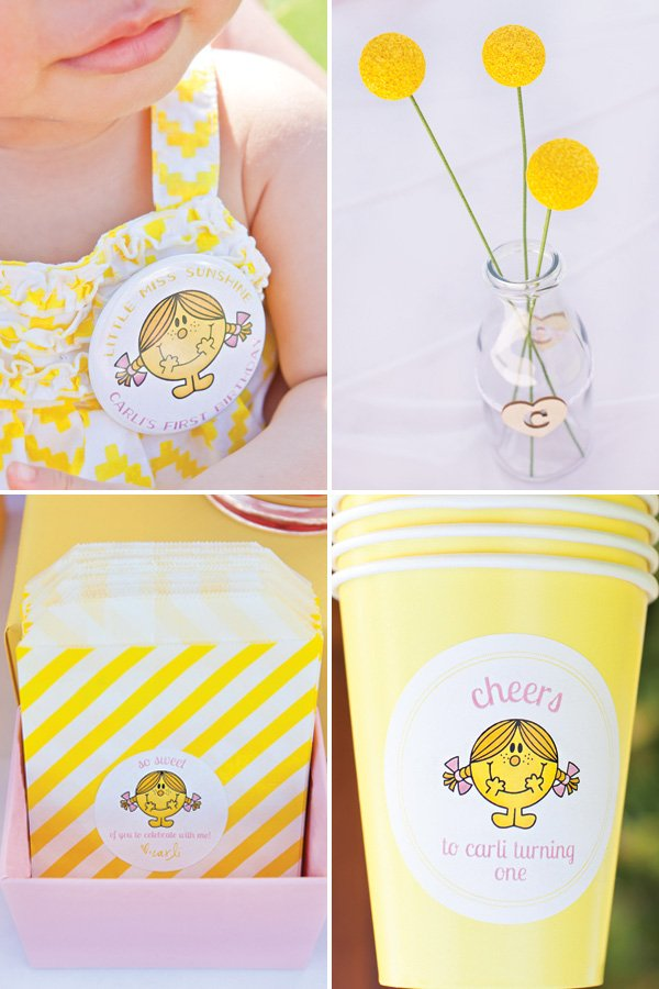 yellow little miss sunshine party decor ideas