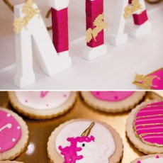 pink and gold unicorn party cookies