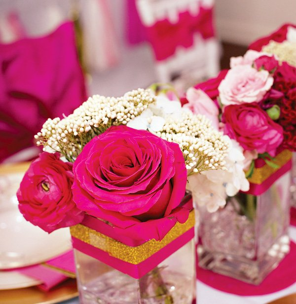 pink and gold party flowers