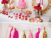 pink and gold unicorn party dessert table