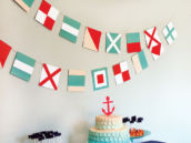 nautical baby shower dessert table