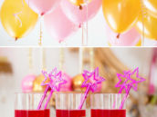 pink and gold party balloons and royal jello