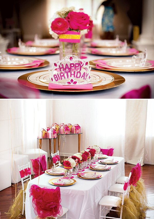 pink and gold princess party table