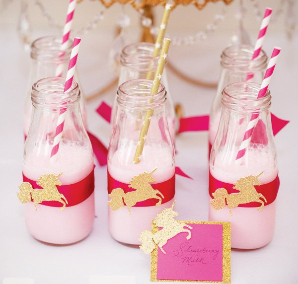pink and gold unicorn party drinks