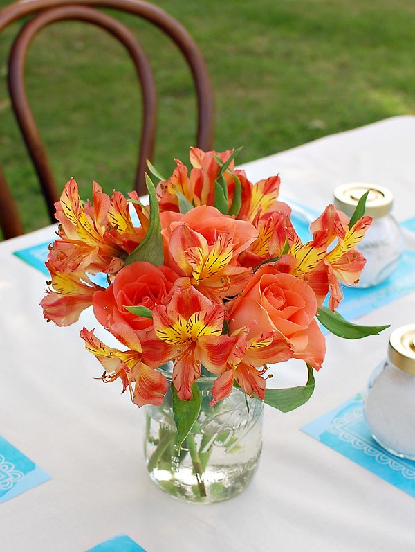 orange and yellow flower centerpiece