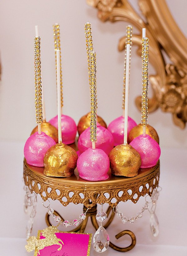 sparkly pink and gold cake pops