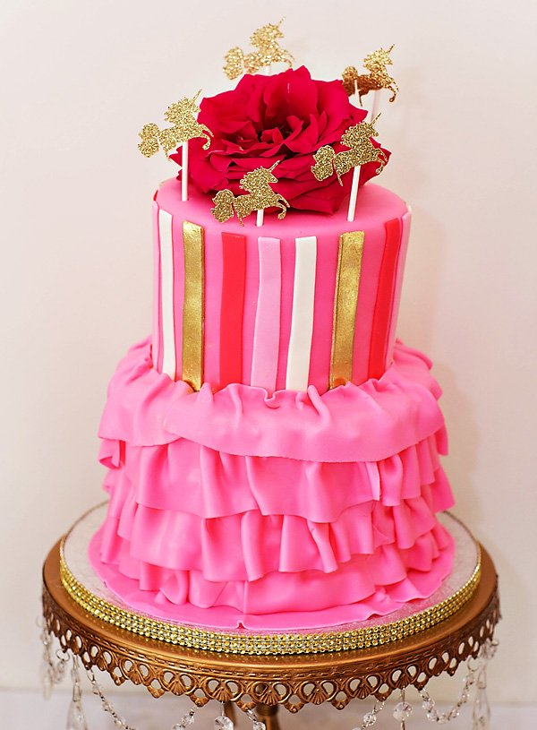 pink and gold unicorn princess cake