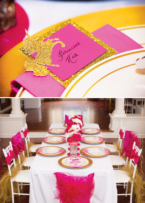 pink and gold unicorn princess party table