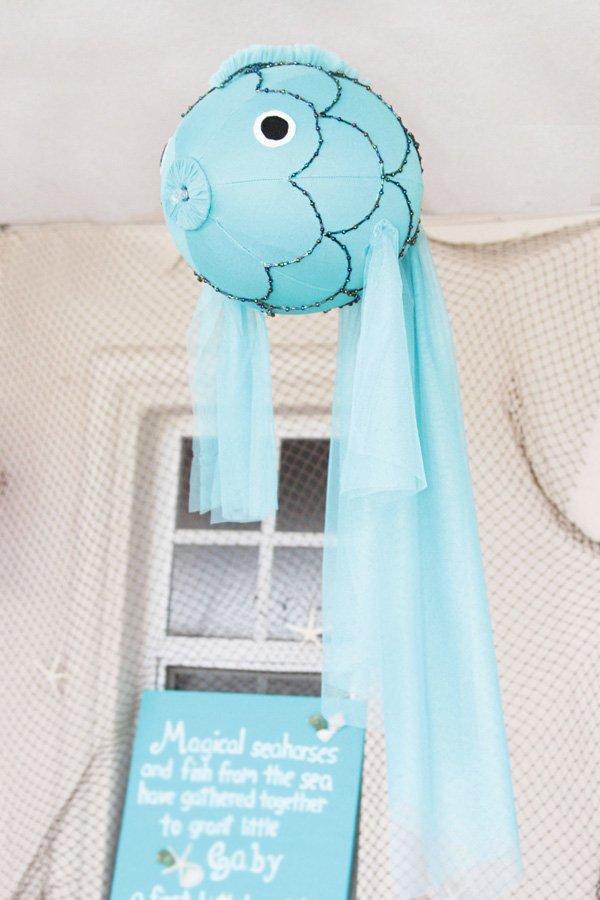 DIY hanging blow up fish party decor