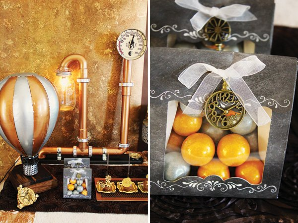 DIY steampunk pipes and light bulbs