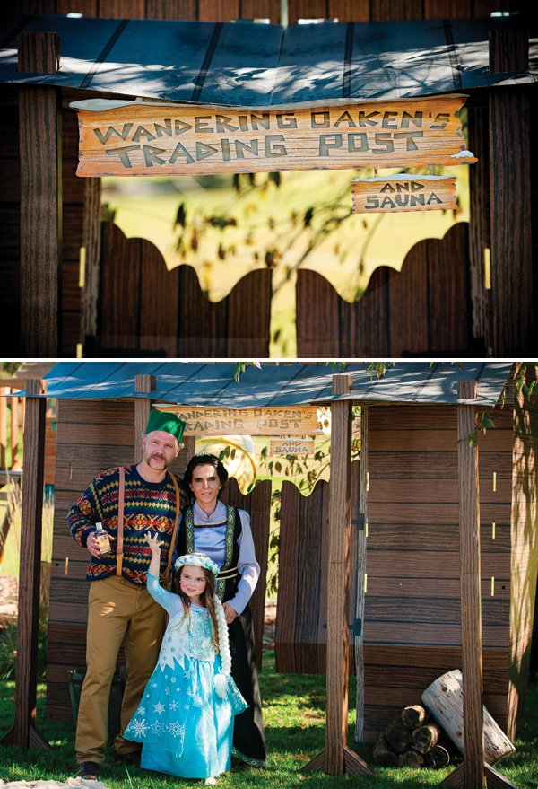 DIY wandering oaken's trading post for a frozen birthday party