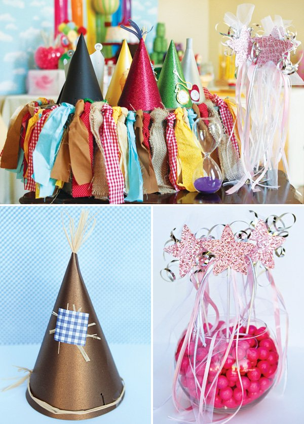 DIY wizard of oz character party hats