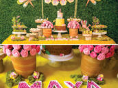 bumblebee birthday party dessert table and letter candy dishes