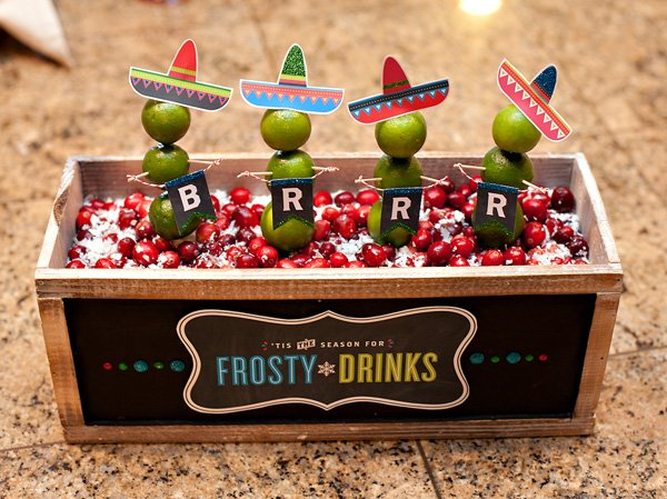 holiday fiesta centerpiece - DIY lime snowmen with sombreros