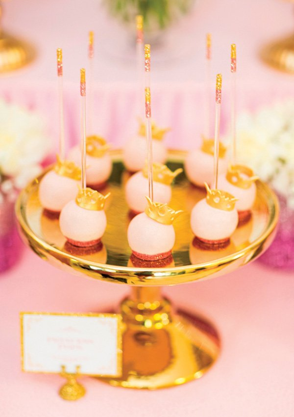 gold crown topped princess cake pops