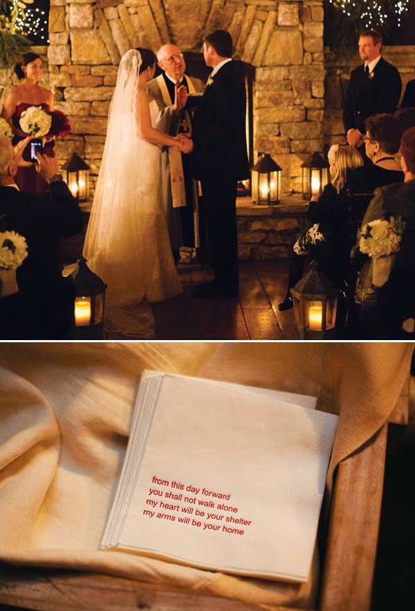 custom wedding napkins with a sweet quote