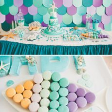 fish scale backdrop for an under the sea birthday party dessert table