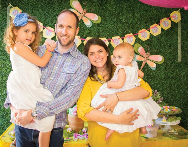 garden bee first birthday family photo