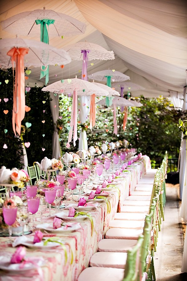 tea party garden bridal shower table with umbrella decorations