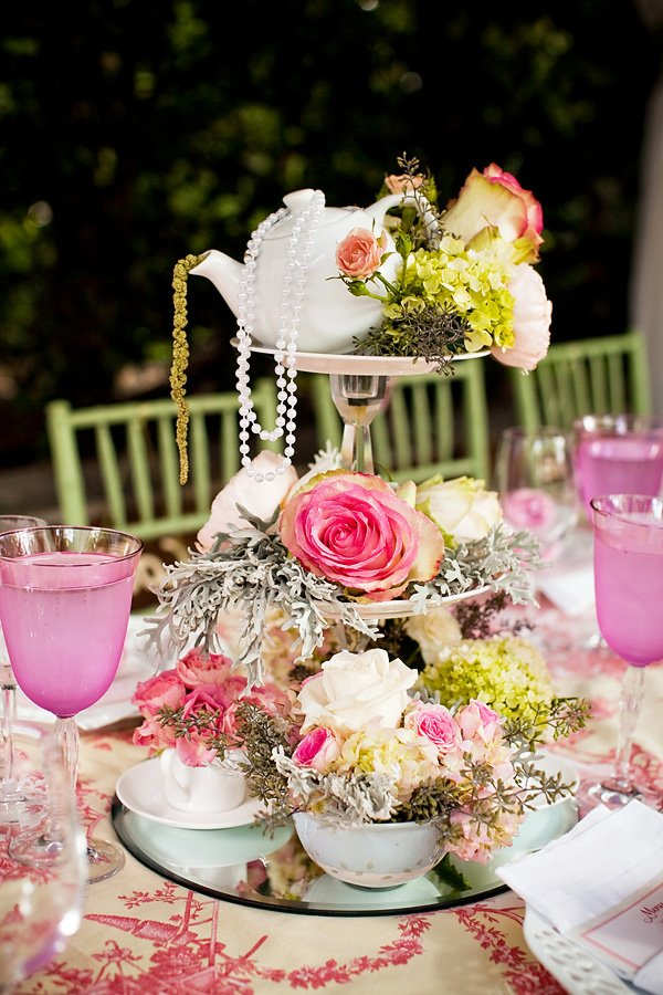 tea party bridal shower centerpiece