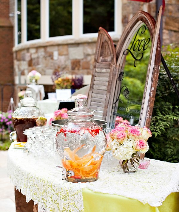 garden bridal shower drinks station