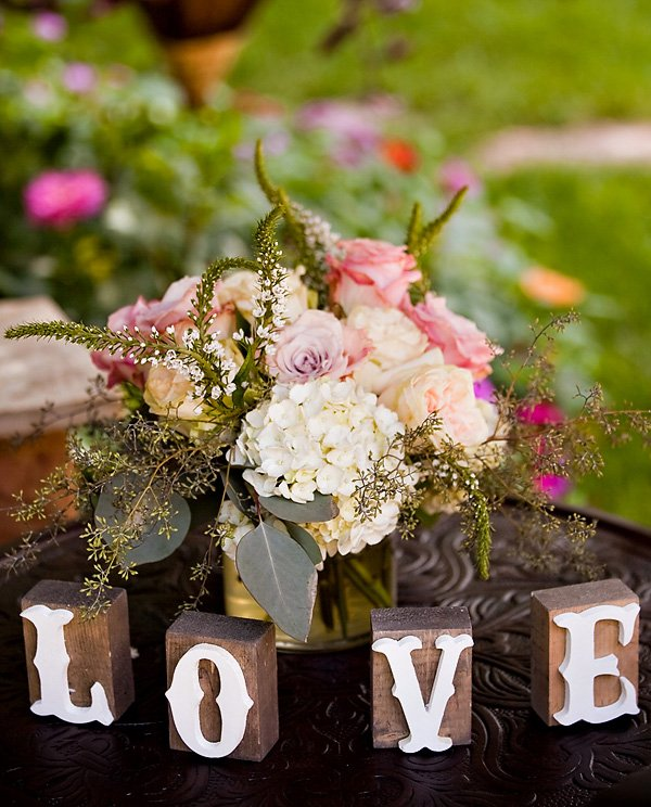 garden bridal shower love centerpiece