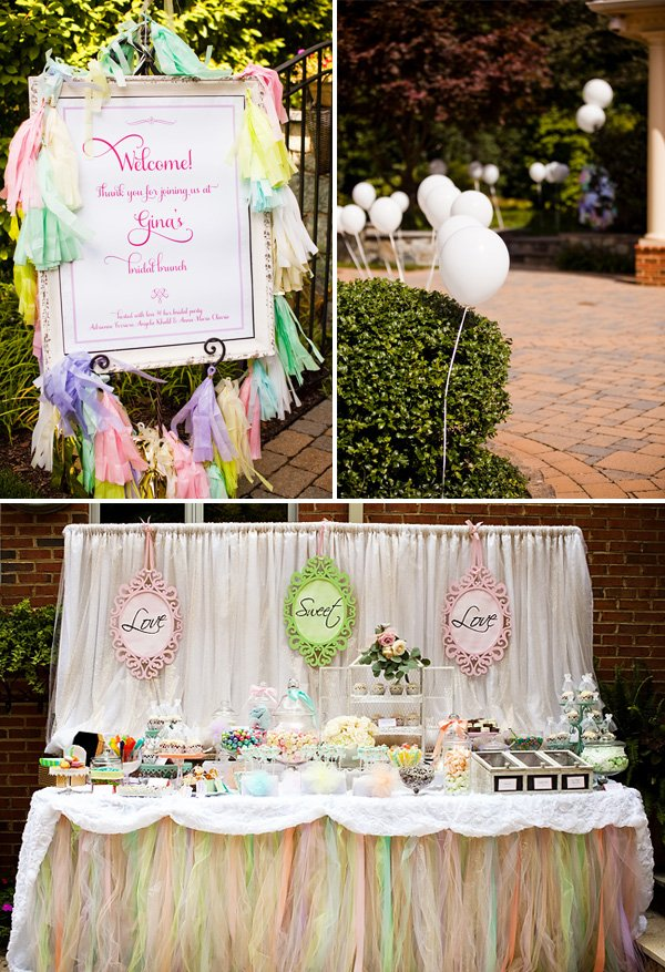 pastel lace bridal shower decorations