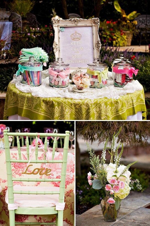 garden bridal shower favor station beauty bar