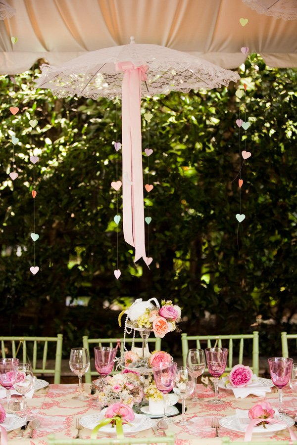 bridal shower umbrella centerpiece