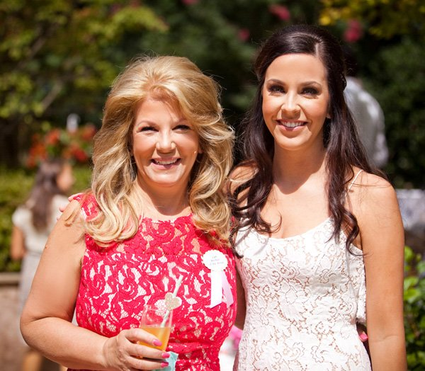 bridal shower - bride and mom dresses