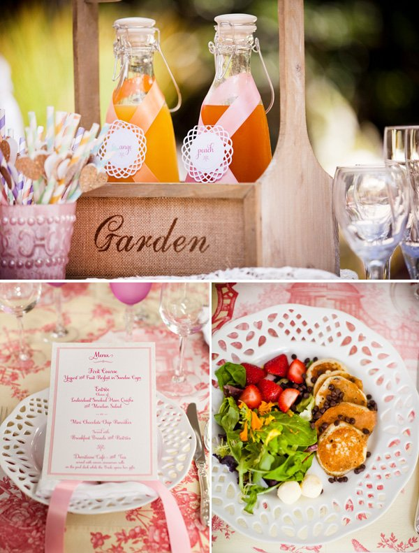 garden bridal shower menu and drinks