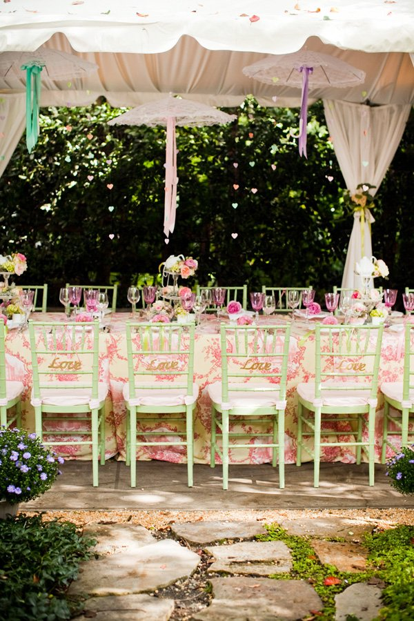 vintage garden bridal shower tablescape