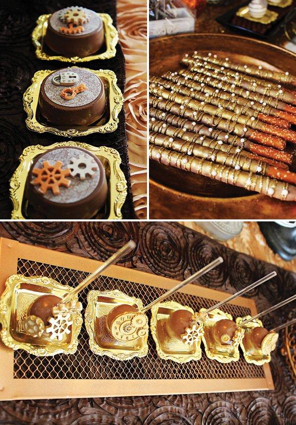 gold glitter gear desserts