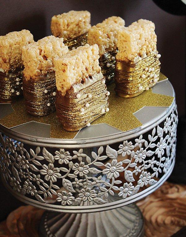 gold glittered rice krispie treats