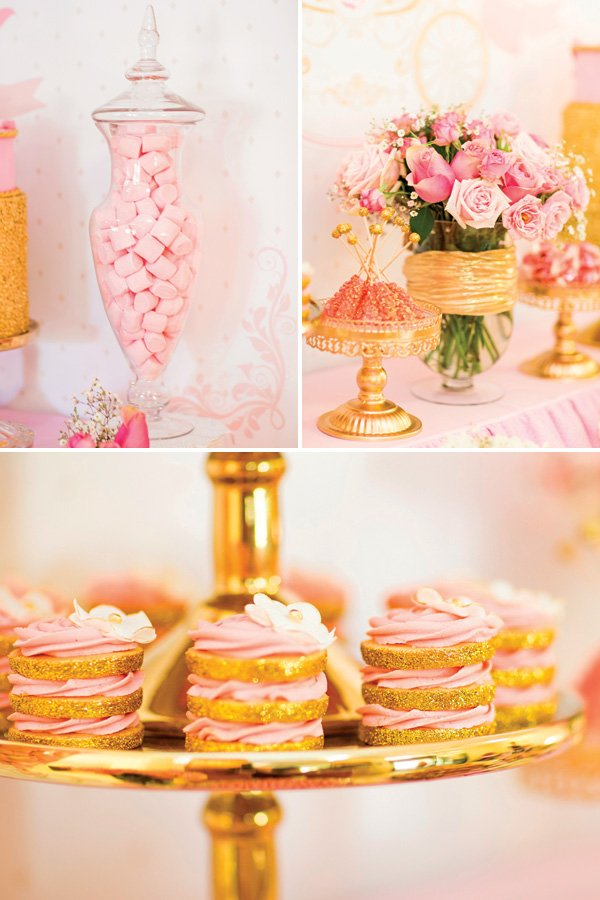 gold and pink birthday party sweets ideas