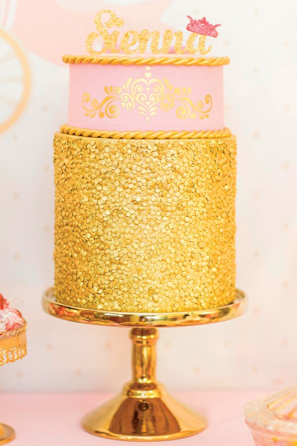 pink and gold sequined princess birthday cake