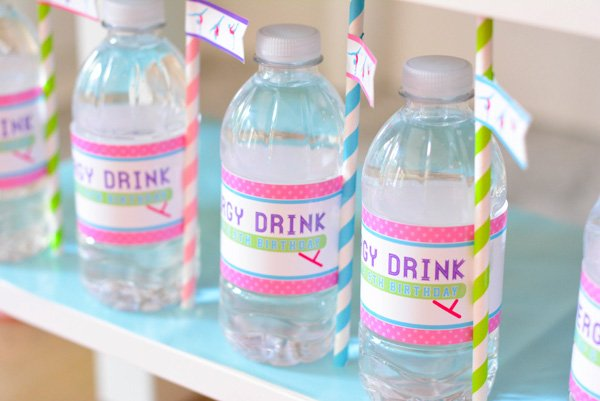 tumbling party water bottle wrappers