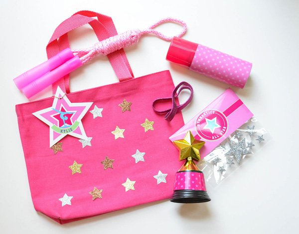 gymnastics party favor tote bags