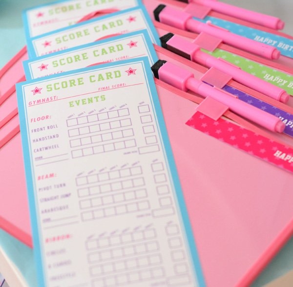 gymnastics party score cards