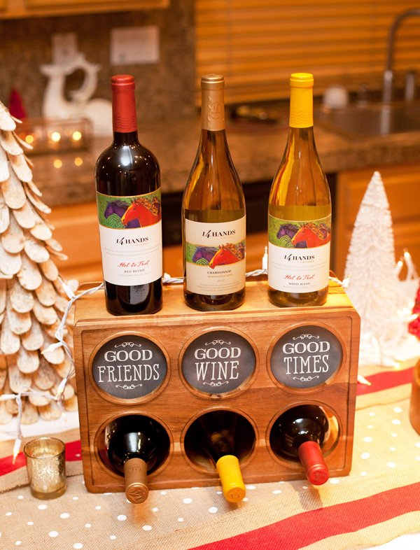 holiday wine party centerpiece