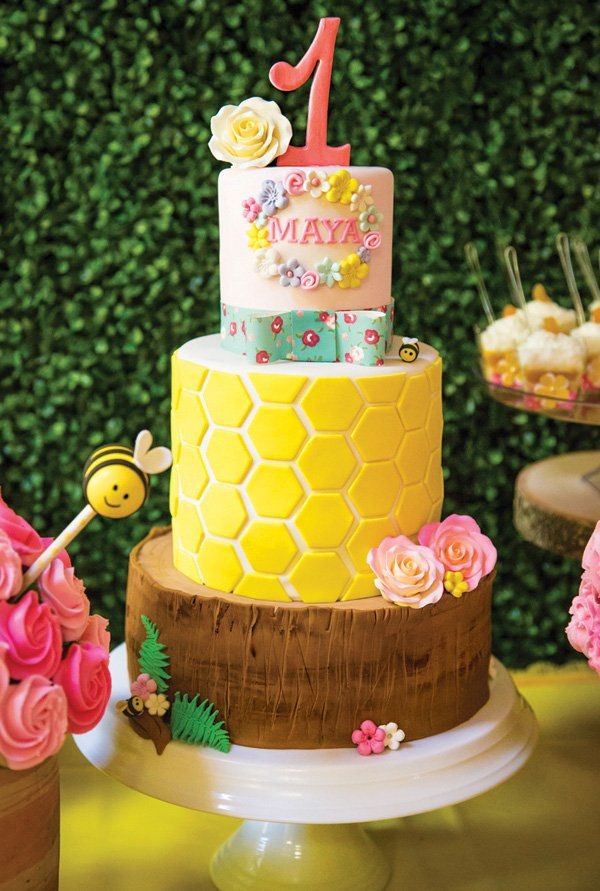 woodland honeycomb bumblebee birthday cake